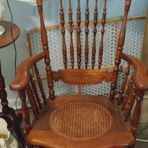 Lot # 50 Antique came bottom pressed back wood rocking chair very nice