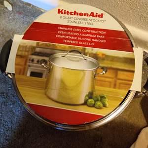 Lot # 67 KitchenAid  8 quart covered stockpot NEW