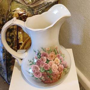 Lot # 71 brand new hand-painted floral pitcher