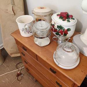 Lot # 79 canisters glass coffee pot marble cheese dish