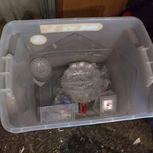 Lot # 111 bin full of glassware