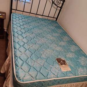 Lot # 121 full size metal headboard mattress box springs and frame complete bed