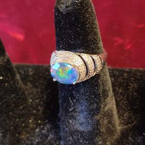 Lot # 134 beautiful sterling silver ring with blue stone sz 6.25