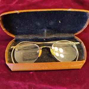 Lot # 140 vintage antique gold filled frames eyeglasses in the case