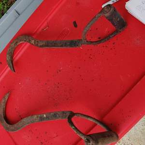 Lot # 177 pair of antique hay tongs