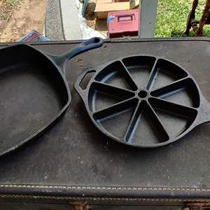 Lot # 198 cast iron two pieces cornbread and a frying pan Lodge