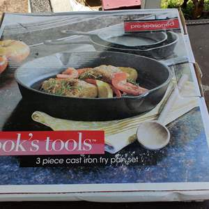 Lot # 199 brand new in the box unopened Cook's tools cast iron pot set of 3