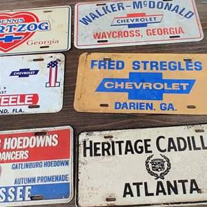 Lot # 227 lot of 6 metal dealer tags Georgia Tennessee Florida