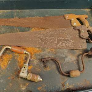 Lot # 240 two vintage Saws and to Yankee screwdrivers drills