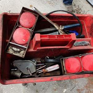 Lot # 244 red tray full of tools vintage auto reflectors