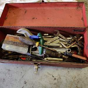Lot # 247 tool box with miscellaneous tools