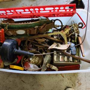 Lot # 257 miscellaneous tools in a clear storage bin and garage items