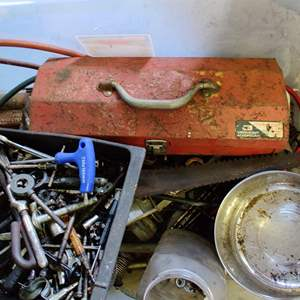 Lot # 261 Clear bin full of miscellaneous tools and garage items