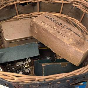 Lot # 267  basket with miscellaneous sewing machine accessories
