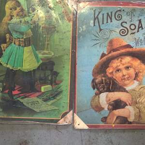 Lot # 268 two reproduction soap advertising metal signs 9 x 12