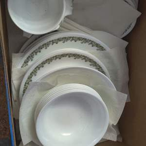 Lot # 285 large box of Corelle dishes