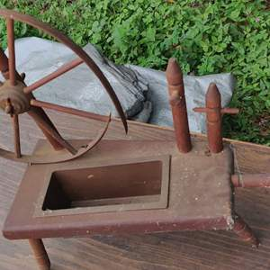 Lot # 289 miniature spinning wheel as is about a footlong
