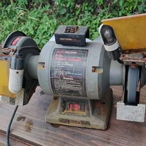 Lot # 302 Craftsman bench grinder works