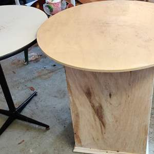 Lot # 310 two round tables one is wood