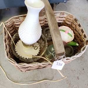 Lot # 331 Lot # 331 basket full of Glass lamp three insulators and Crystal Bowl