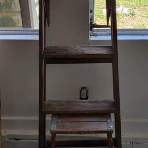 Lot # 334 wooden ladder and step stool