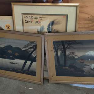 Lot # 335 lot of four pieces of framed art