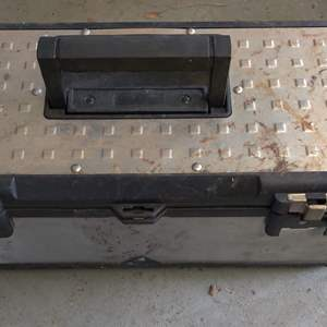 Lot # 338 storehouse tool box one latch is bad a couple of tools in it