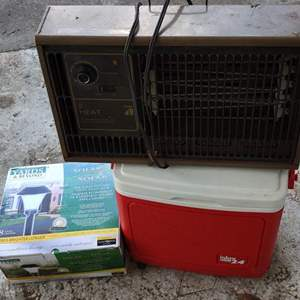Lot # 341 lot of 3 pieces red cooler yard lights in the box and a heater