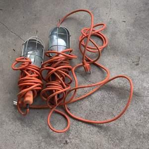 Lot # 349 2 drop lights with orange chords work