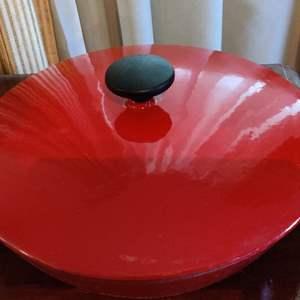 Lot # 352 tramontina 1 quart cast iron red enamel pot with lid