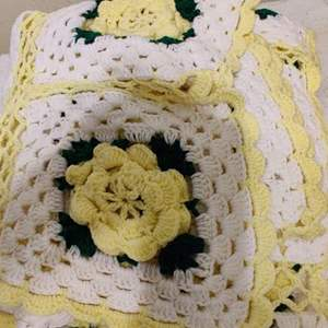 Lot # 365 white and yellow Afghan