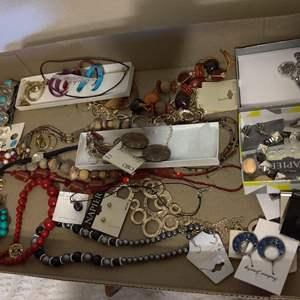 Lot # 380 box of wonderful costume jewelry necklaces pins earrings rings bracelet