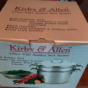 Lot # 385 brand new in box Kirby and Allen 8 quart stainless steel steamer pot