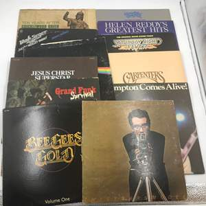 Auction Thumbnail for: Lot # 253 1970s Records Rock, Pop (Lot of 12) - Elvis Costello, Bee Gees, Bob, Seger, Carpenters, Frampton