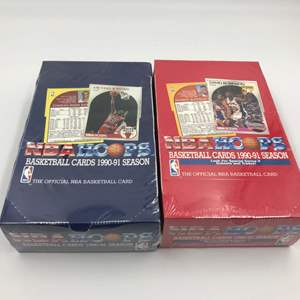 Auction Thumbnail for: Lot # 334 Hoops Basketball Cards 1990-91 Series 1 & 2 - Unopened Wax Box - Lot of 2
