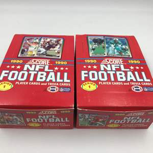 Auction Thumbnail for: Lot # 345 Score Football Cards 1990 Series 1 Unopened Wax Box - Lot of 2 – 72 Packs Total