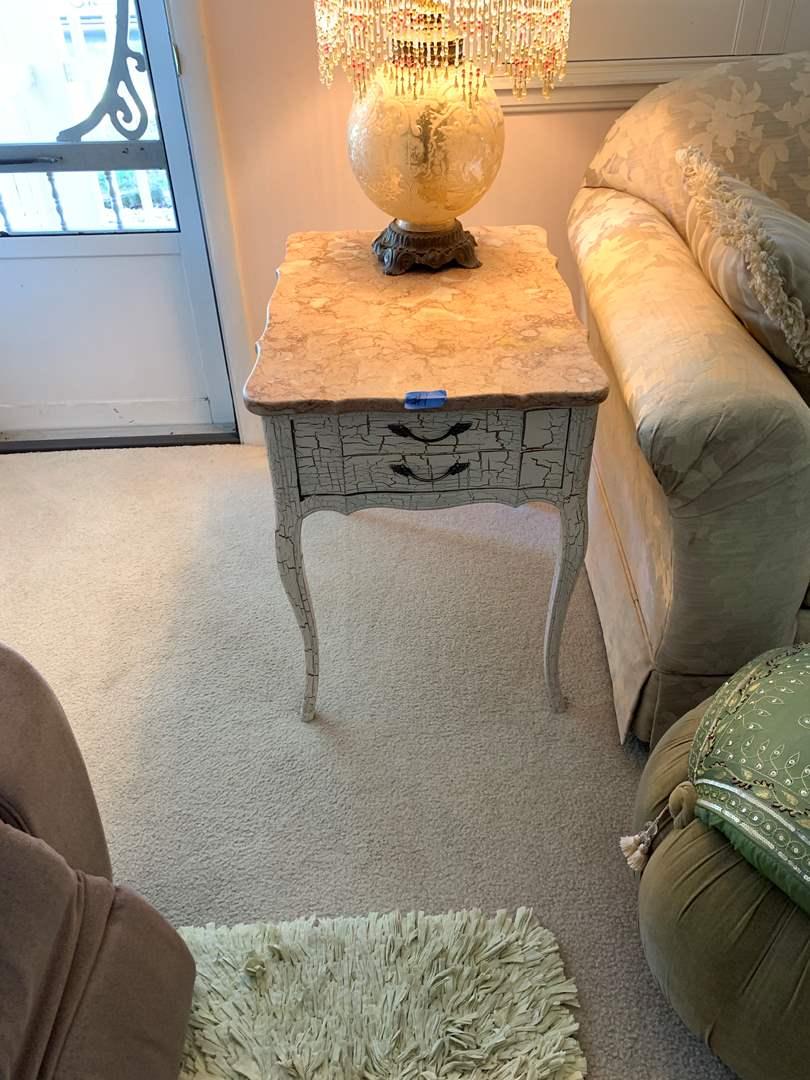 Lot # 1 Distressed Marble Like Wood End Table