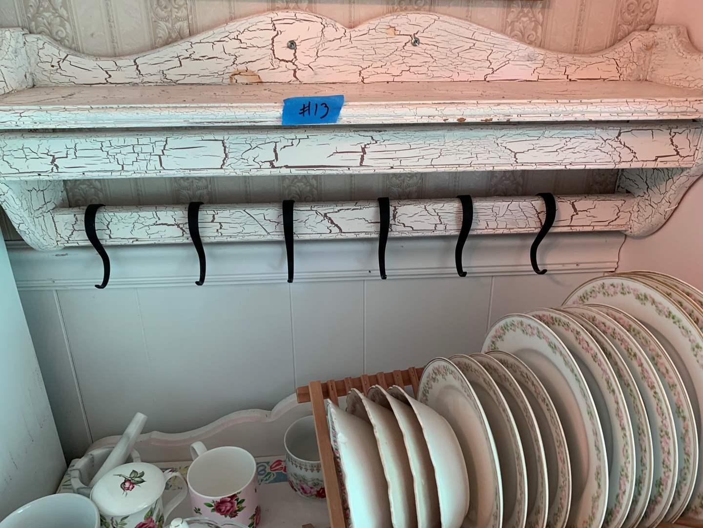 Lot # 13 Distressed 6 Hook Wall Shelf