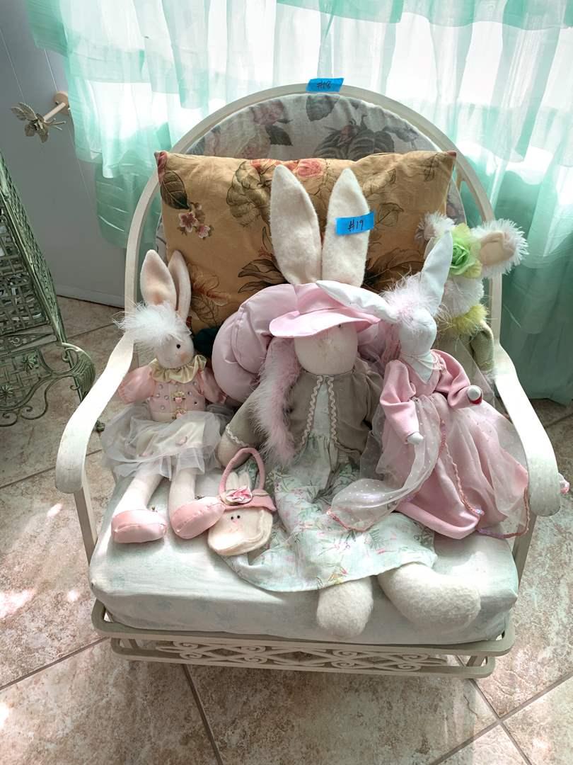 Lot # 19 Lot of Stuffed Bunny Rabbits Easter Stuff