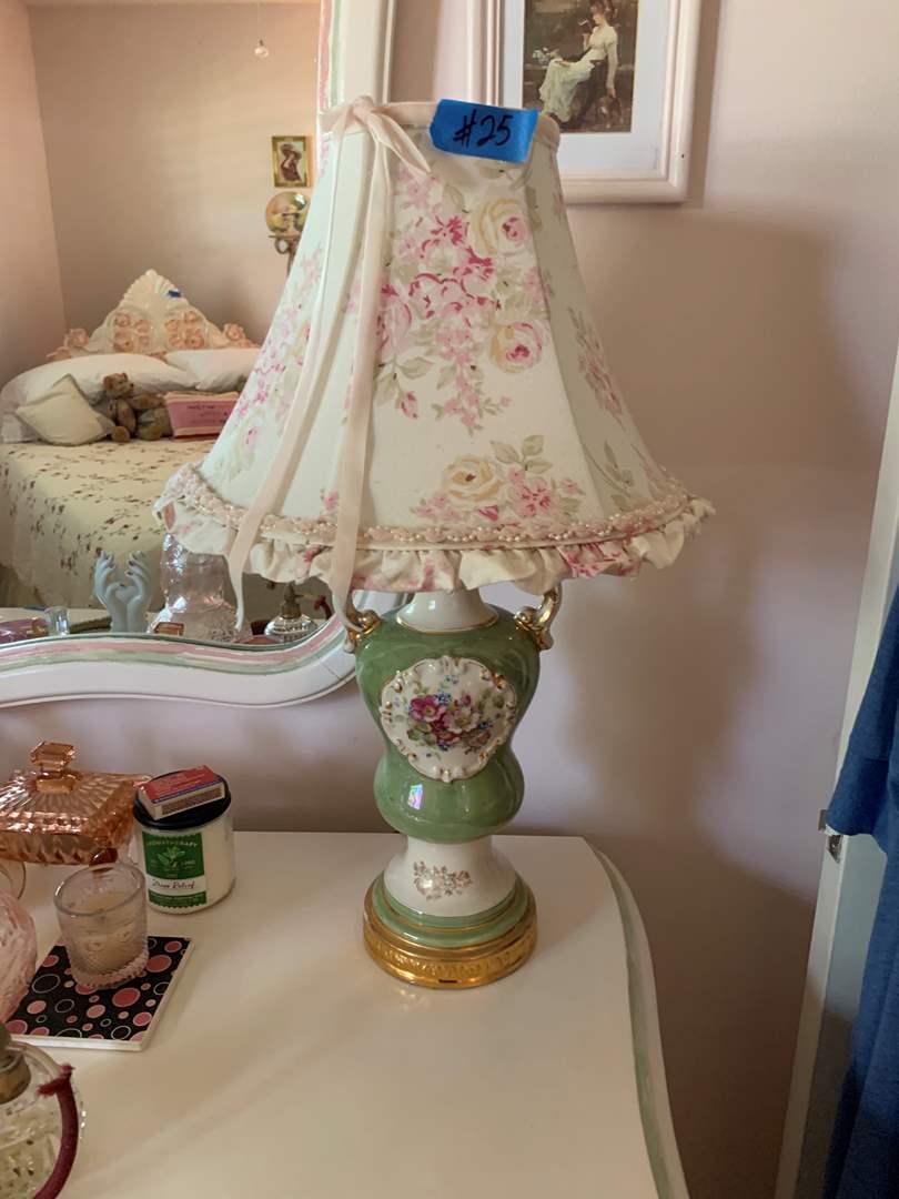 Lot # 25 Vintage Urn Style Vase Lamp W/Shade