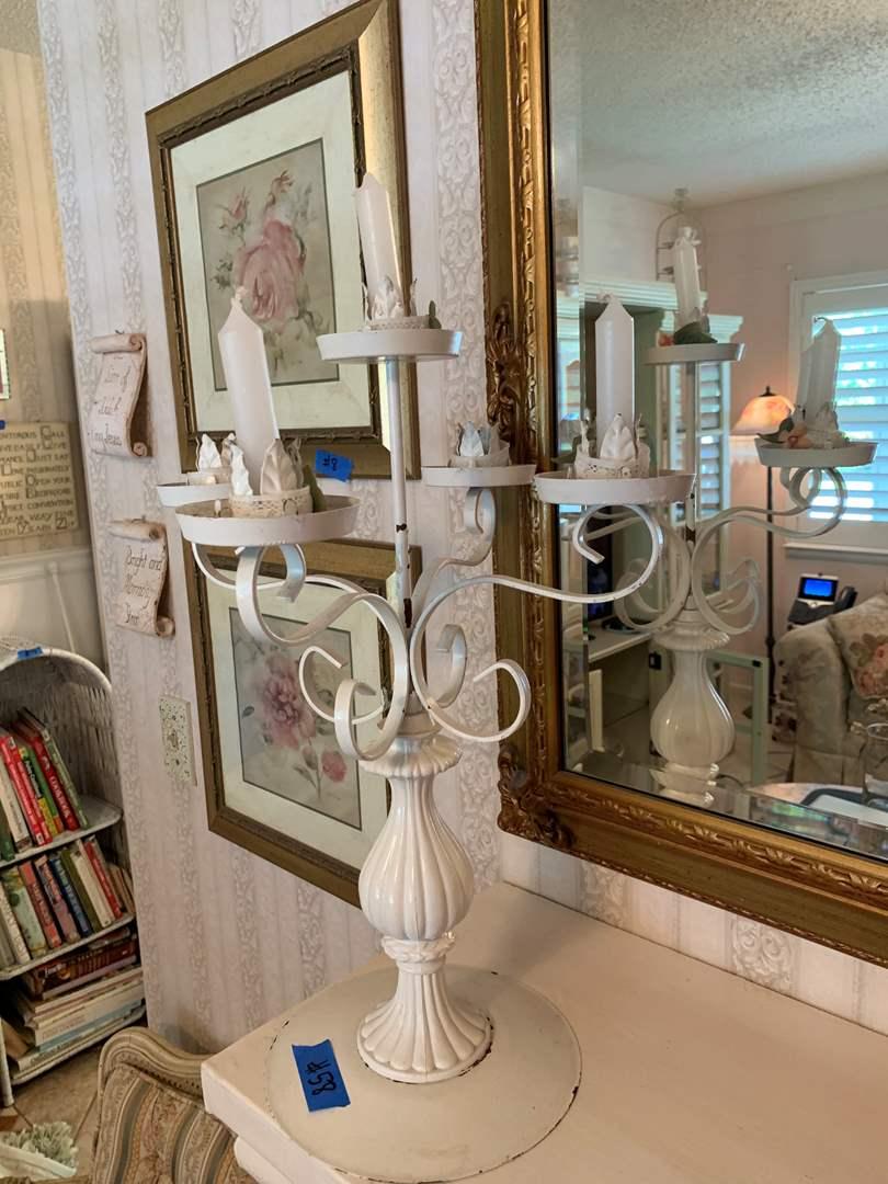 Lot # 58 White Metal Candlestick Holder, Pedestal