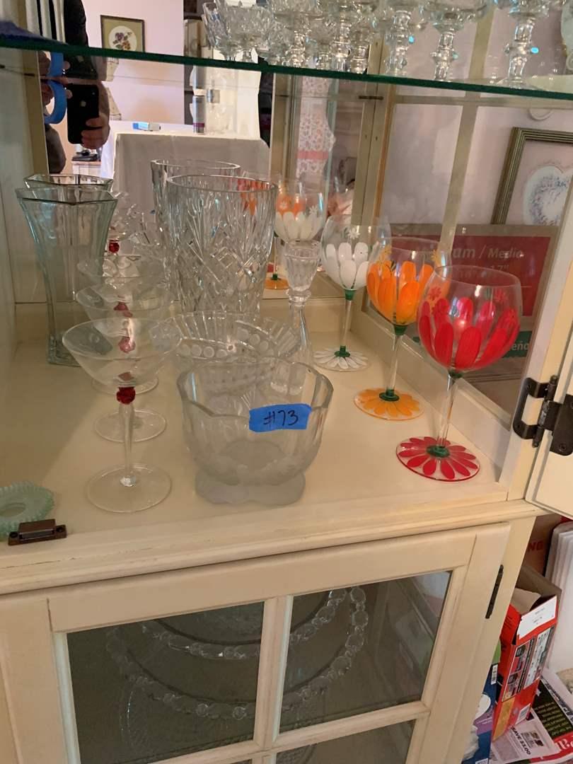 Lot # 73 Shelf full of glassware Flower Vases unique hand-painted wineglasses martini glasses