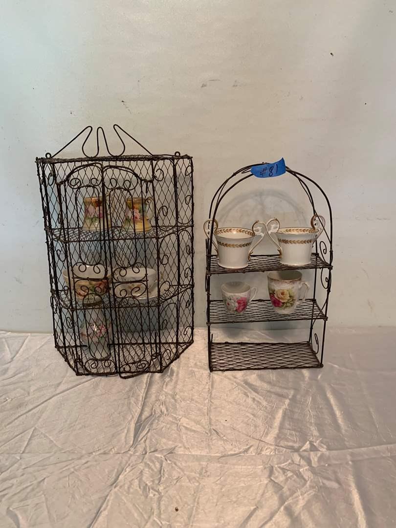 Lot # 81 Unique braided metal shelves with various porcelain items