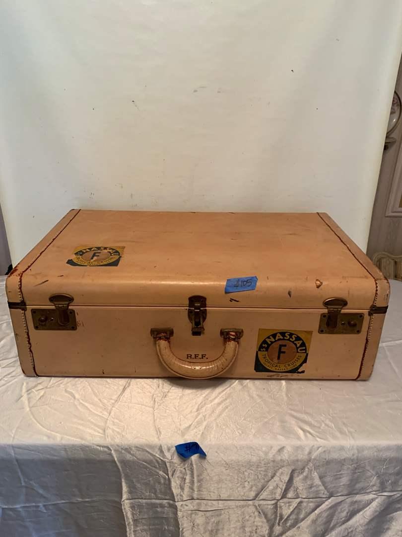 Lot # 105 Vintage stitched leather suitcase