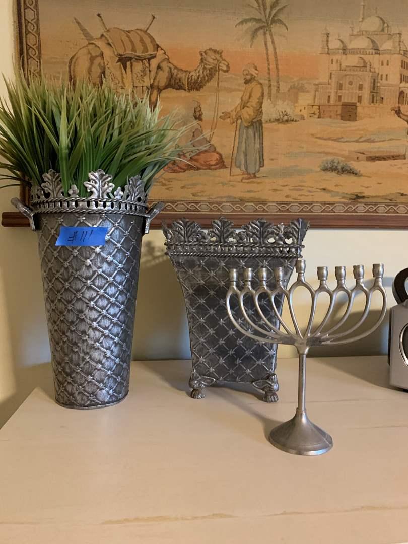 Lot # 111 Chanukah nine branch candelabra and Ornate Metal Vases/Plant holders