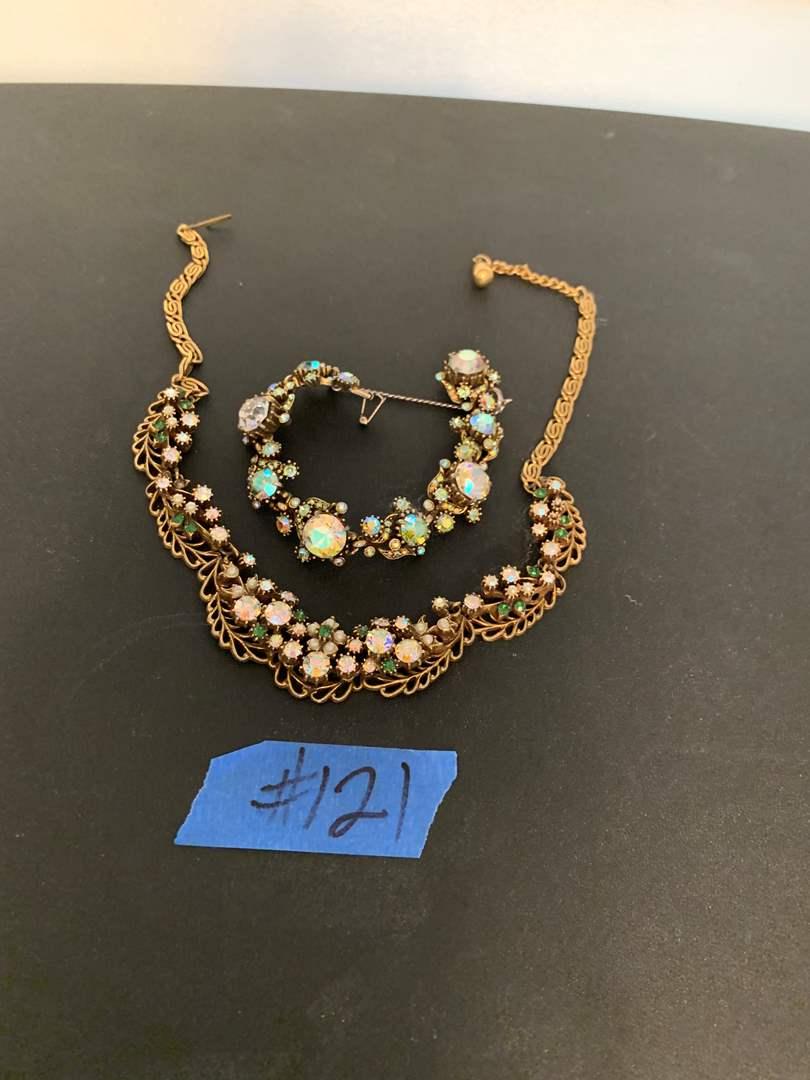 Lot # 121 Vintage Hollycraft Corp Heavily Rhinestone Necklace and Bracelet Set