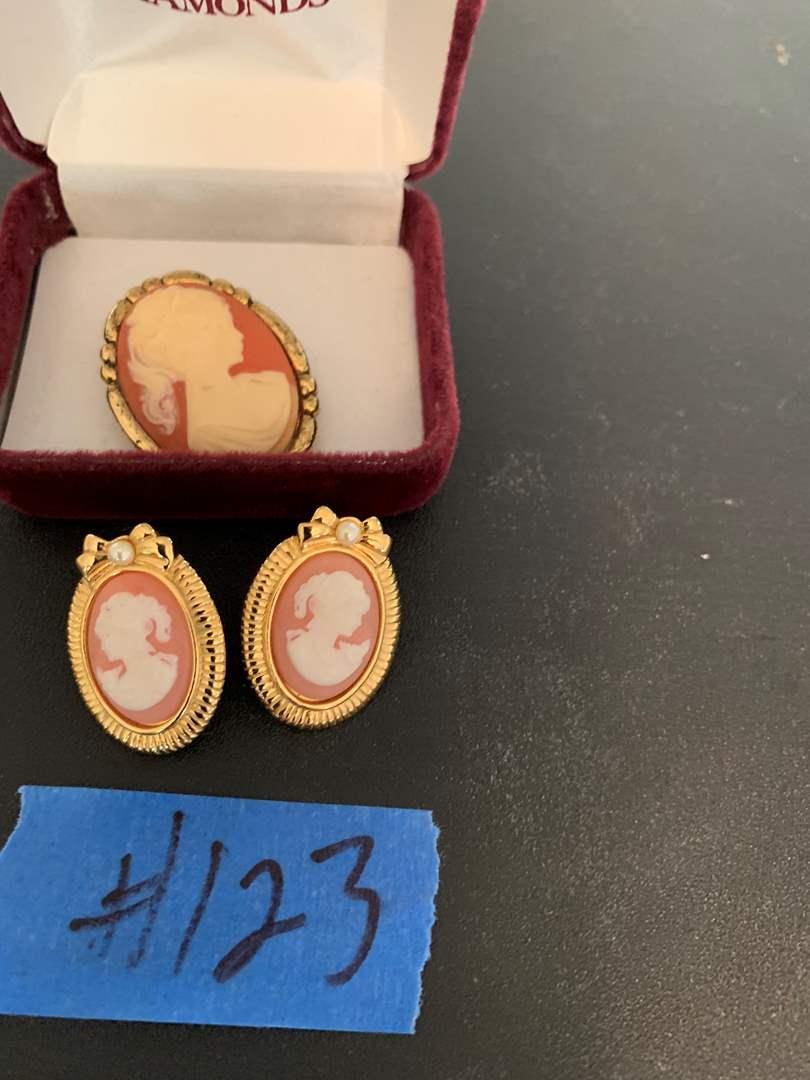Lot # 123 Helzberg diamonds cameo brooch and matching earrings