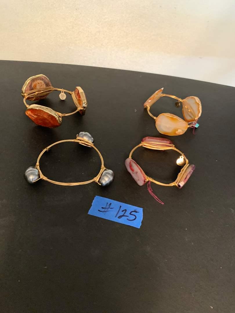 Lot # 125 B.B. Bourbon and bowties wire wrapped gemstone bracelets