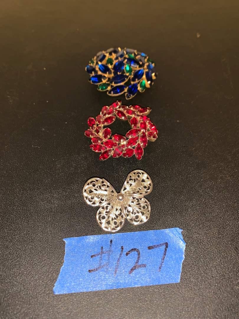 Lot # 127 rhinestone and filigree pins
