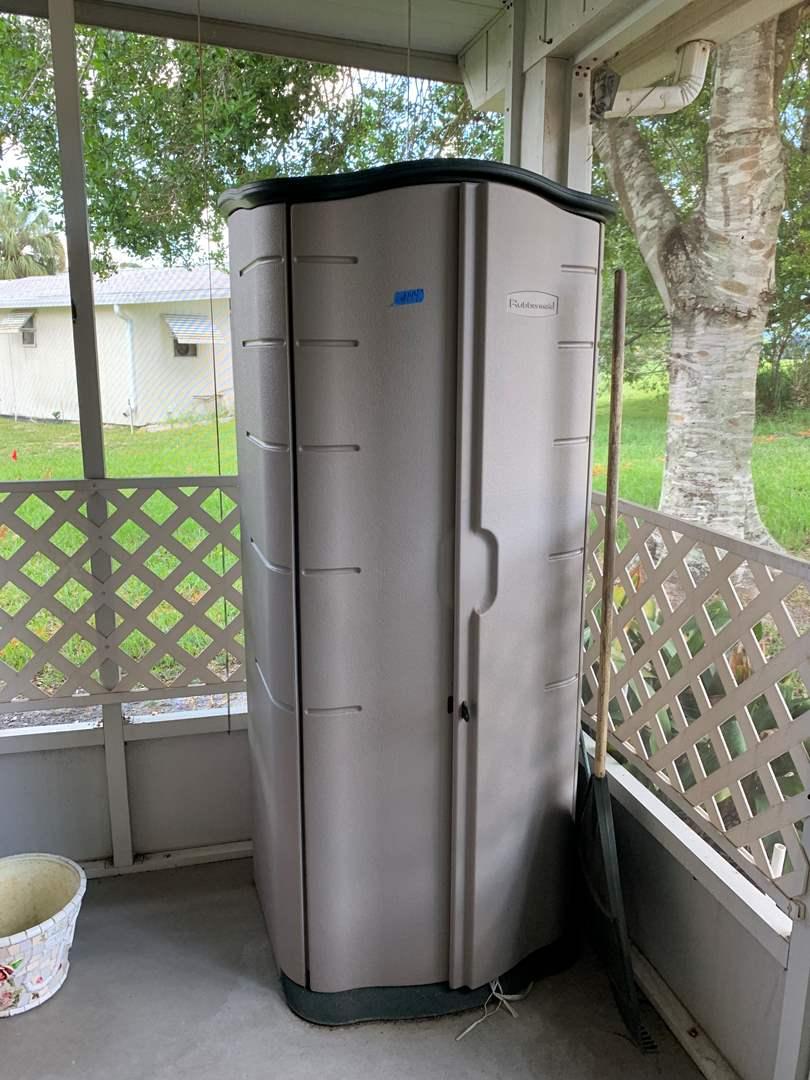 Lot # 144 Rubbermaid two door plastic storage cabinet
